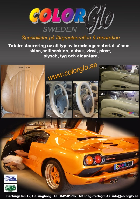 Bilklädsel skinn, vinyl, plast, tyg mm; allt kan lagas och restaureras av Colorglo