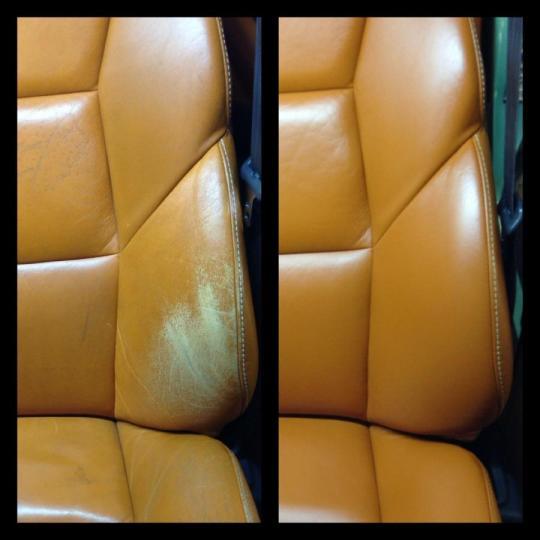 Skinnrestaurering av Volvo Skinnsäte, bilsäte.