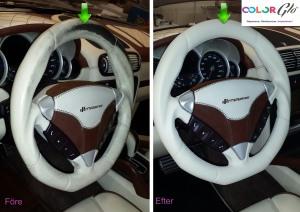 Porscheratt i skinn restaureras av ColorGlo.  Behöver ingen bilsadelmakare.